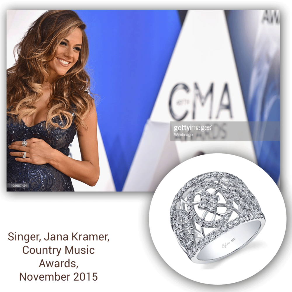Always so beautifully smiling, Jana Kramer sparkles at the Country Music Awards in this openly-spaced white gold and diamond Sylvie Collection ring!