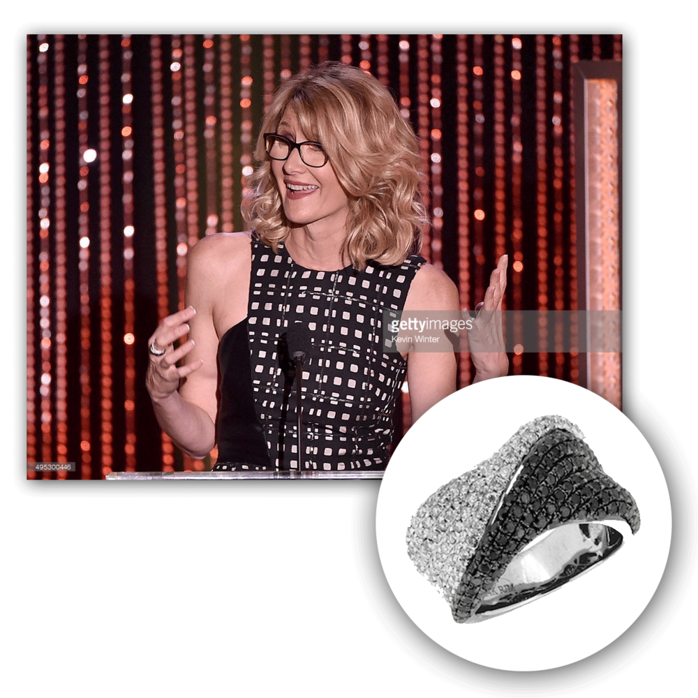 Even at 48, she's a beautiful site to see! Laura Dern effortlessly glows in this white gold and diamond Royal Jewelry ring, does she not?