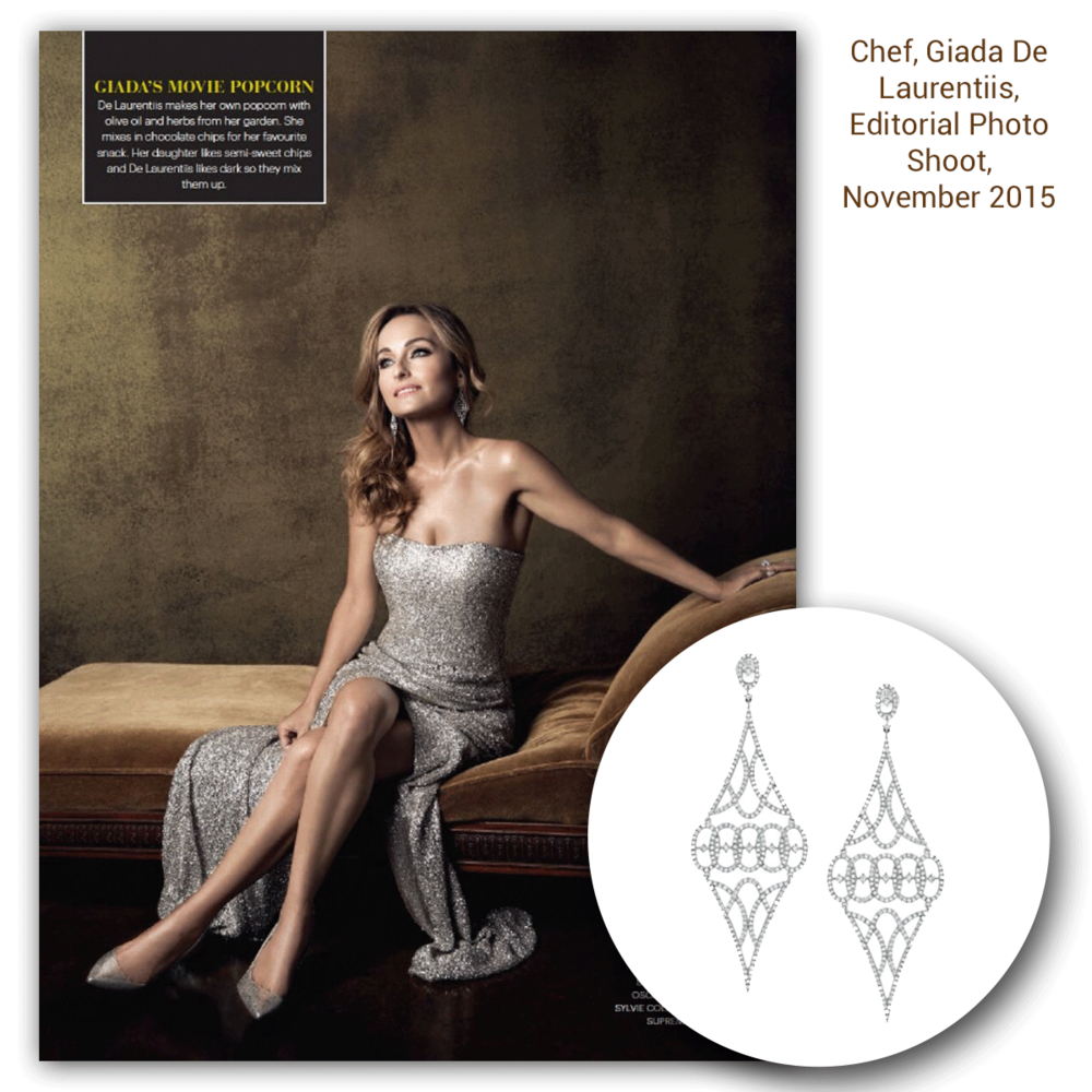 Check out Giada de Laurentiis beautifully sparkling in these white gold and diamond Sylvie Collection drops, as well as a two-tone Supreme Jewelry fashion ring to match (below)!