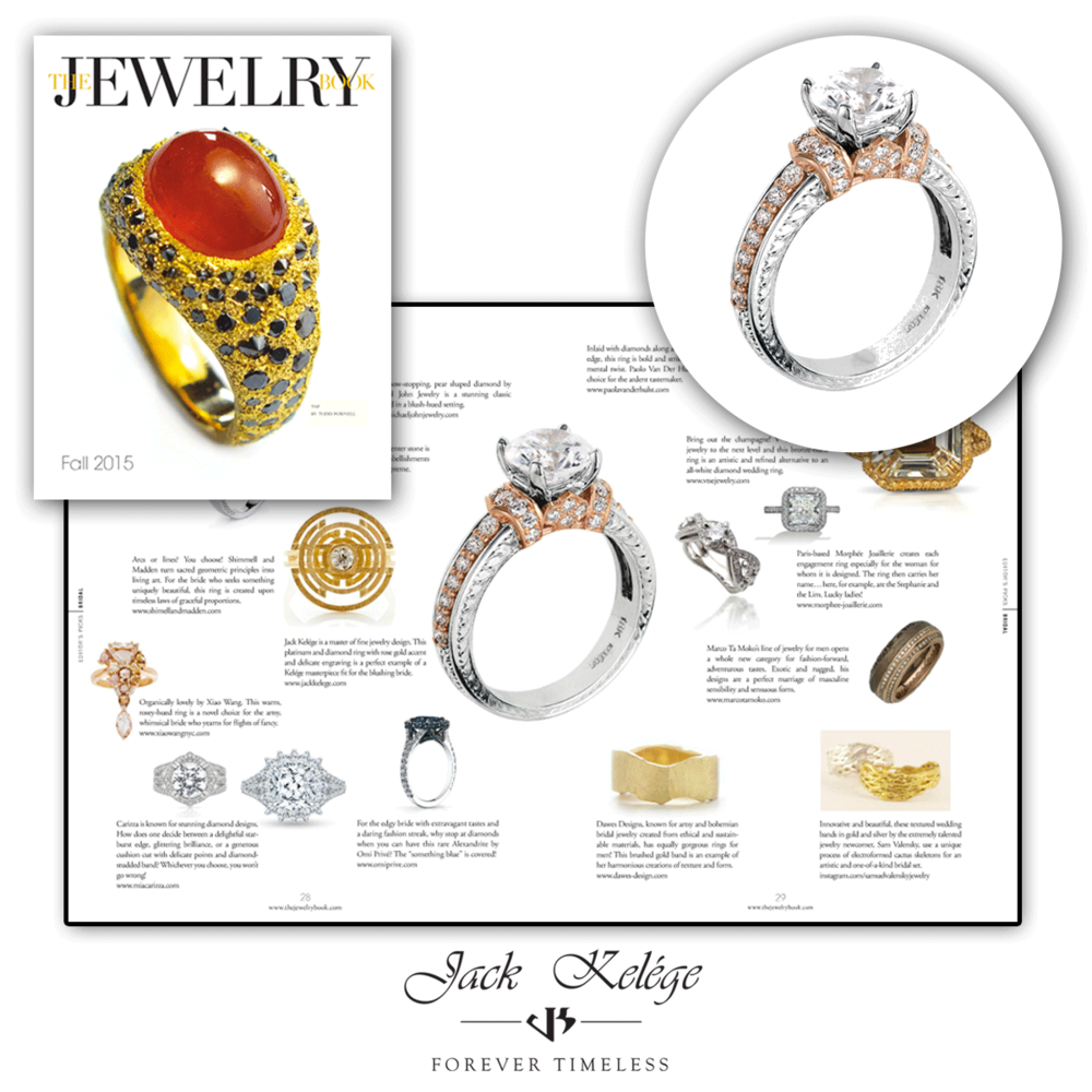 Thank you The Jewelry Book for featuring this one-of-a-kind two-tone Jack Kelege classic engagement ring!