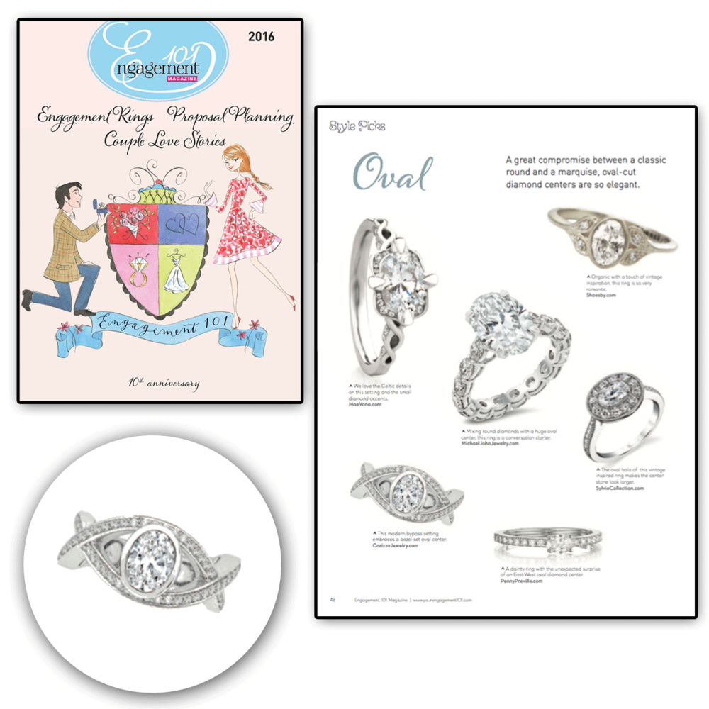 Thank you Engagement 101 for featuring this one-of-a-kind white gold and diamond CARIZZA engagement ring!