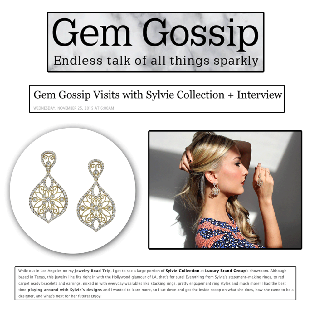 Check out this beautifully written interview by Gem Gossip featuring designer Sylvie of Sylvie Collection.