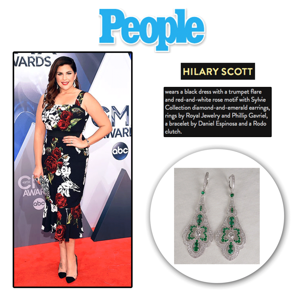 The always stunning Hillary Scott looked dazzling in these emerald drop earrings by Sylvie Collection.