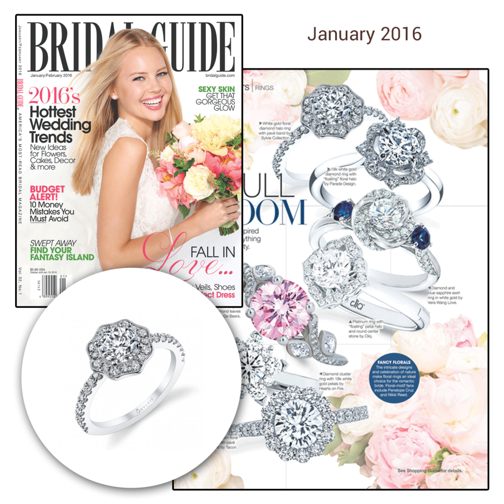 This floral and halo diamond engagement ring, by Sylvie Collection, has been featured in this month's issue of the Bridal Guide.