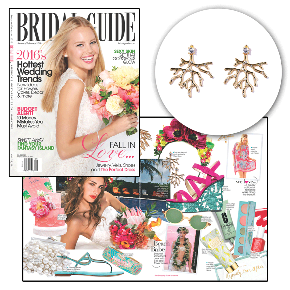 Looking for a simple piece to add a pop of color to your outfit? Check out these sea inspired earrings by Tiffany Chou, being featured in the Bridal Guide.