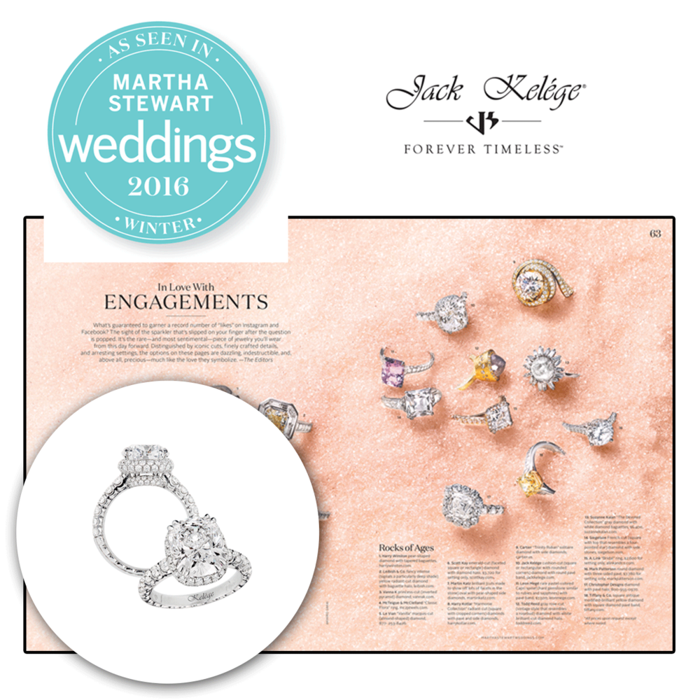 This remarkable engagement ring by Jack Kelege can be found in the winter feature of Martha Stewart Weddings.