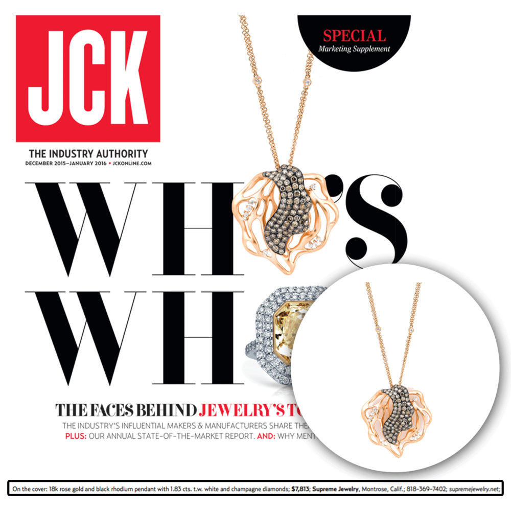 Thank you JCK Marketplace for featuring this dazzling pendant champagne necklace by Supreme Jewelry, it's sure to be a show stopper.