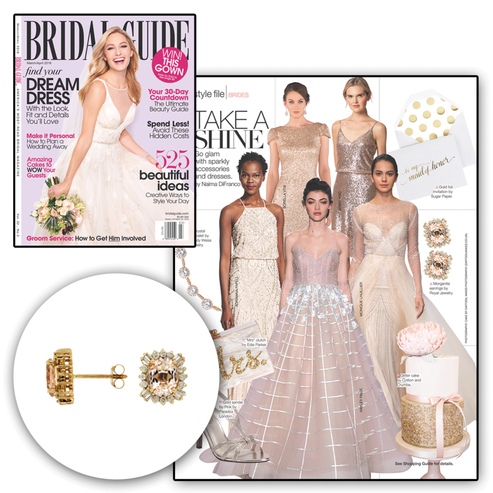 Check out these statement studs by Royal Jewelry currently being featured in The Bridal Guide.