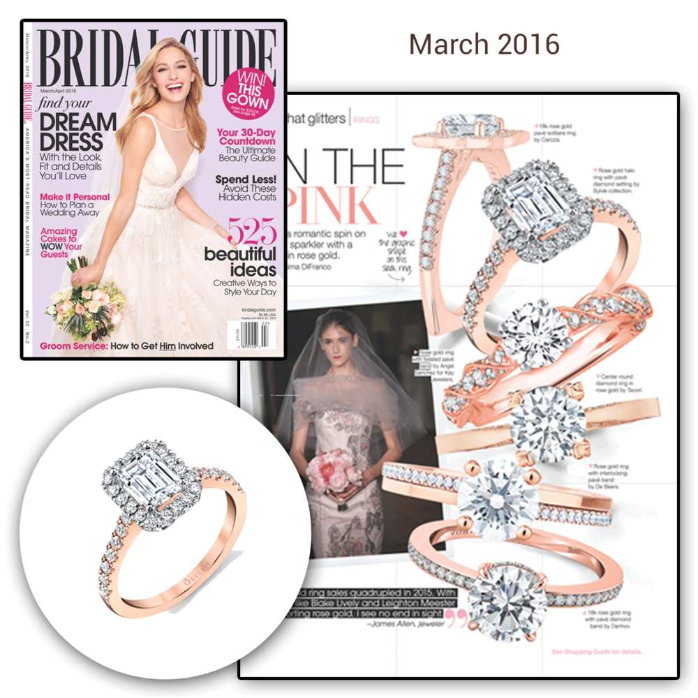 Thank you Bridal Guide for featuring this dazzling rose gold and diamond engagement ring by Sylvie Collection.