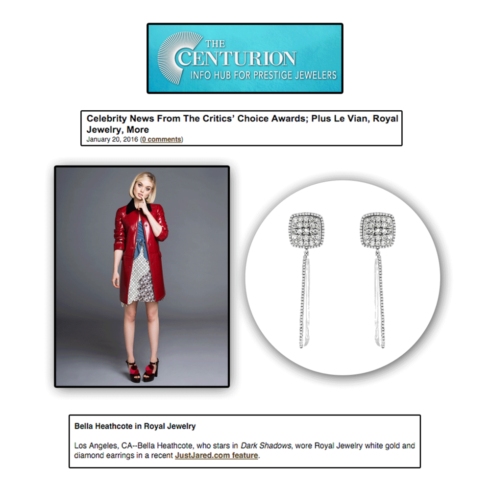 Bella Heathcote looked shiny in these drop earrings by Royal Jewelry on the latest edition of Centurion Newsletter.