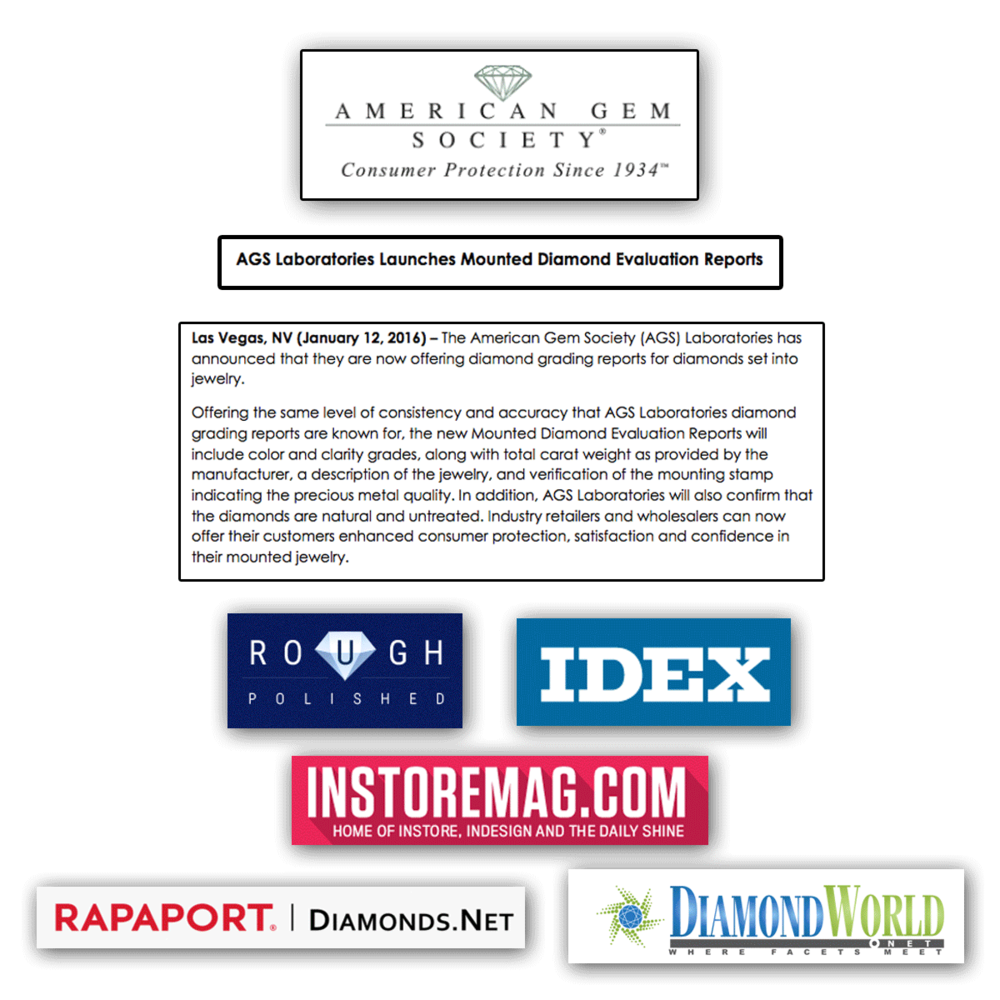 In keeping up with current news, The American Gem Society has launched its Mounted Diamonds Evaluation Reports that will now be offered for diamonds set into jewelry.