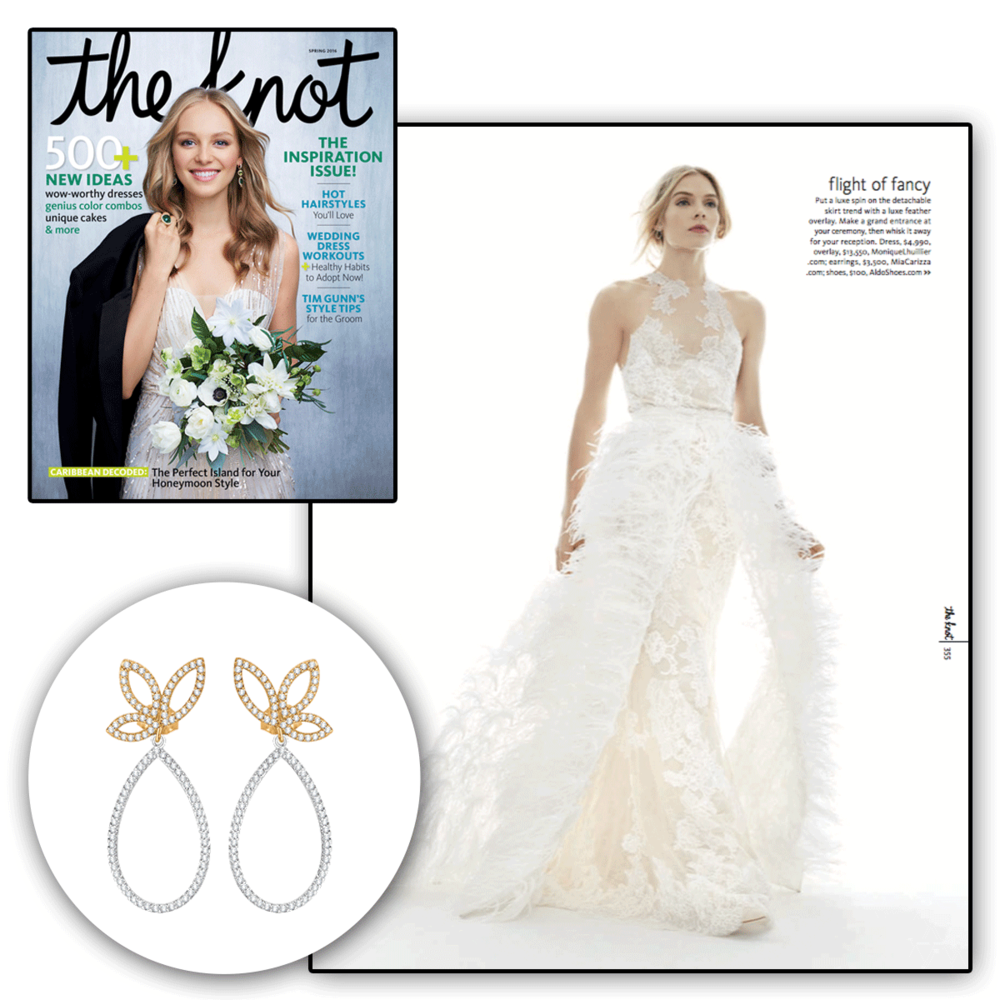 These simple yet dazzling earrings by Carizza Jewelry, featured in The Knot, are sure to add sparkle to the perfect wedding outfit.