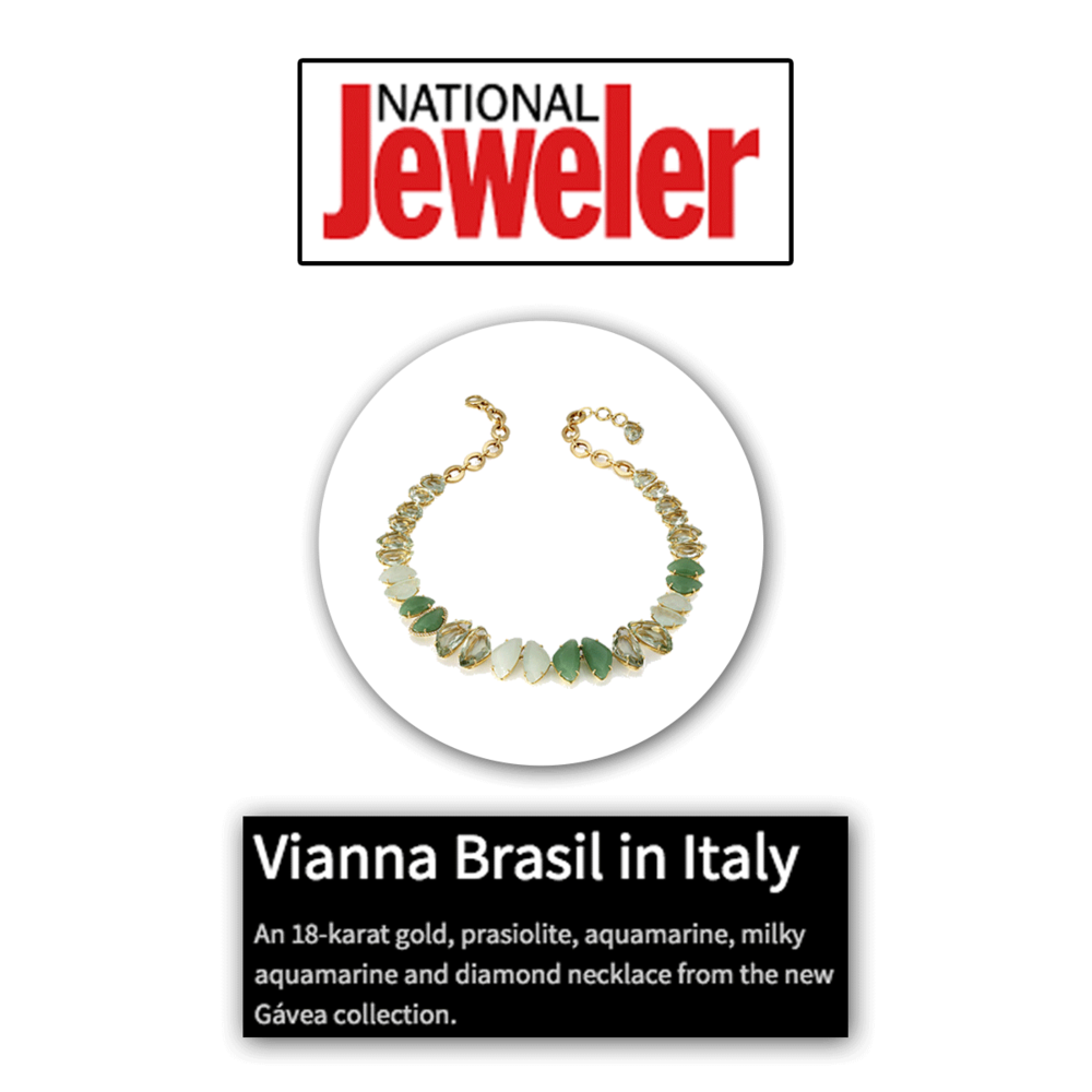 Green with envy? Thank you National Jeweler for featuring this 18K gold, prasiolite, aquamarine, milky aquamarine and diamond necklace by VIANNA B.R.A.S.I.L.