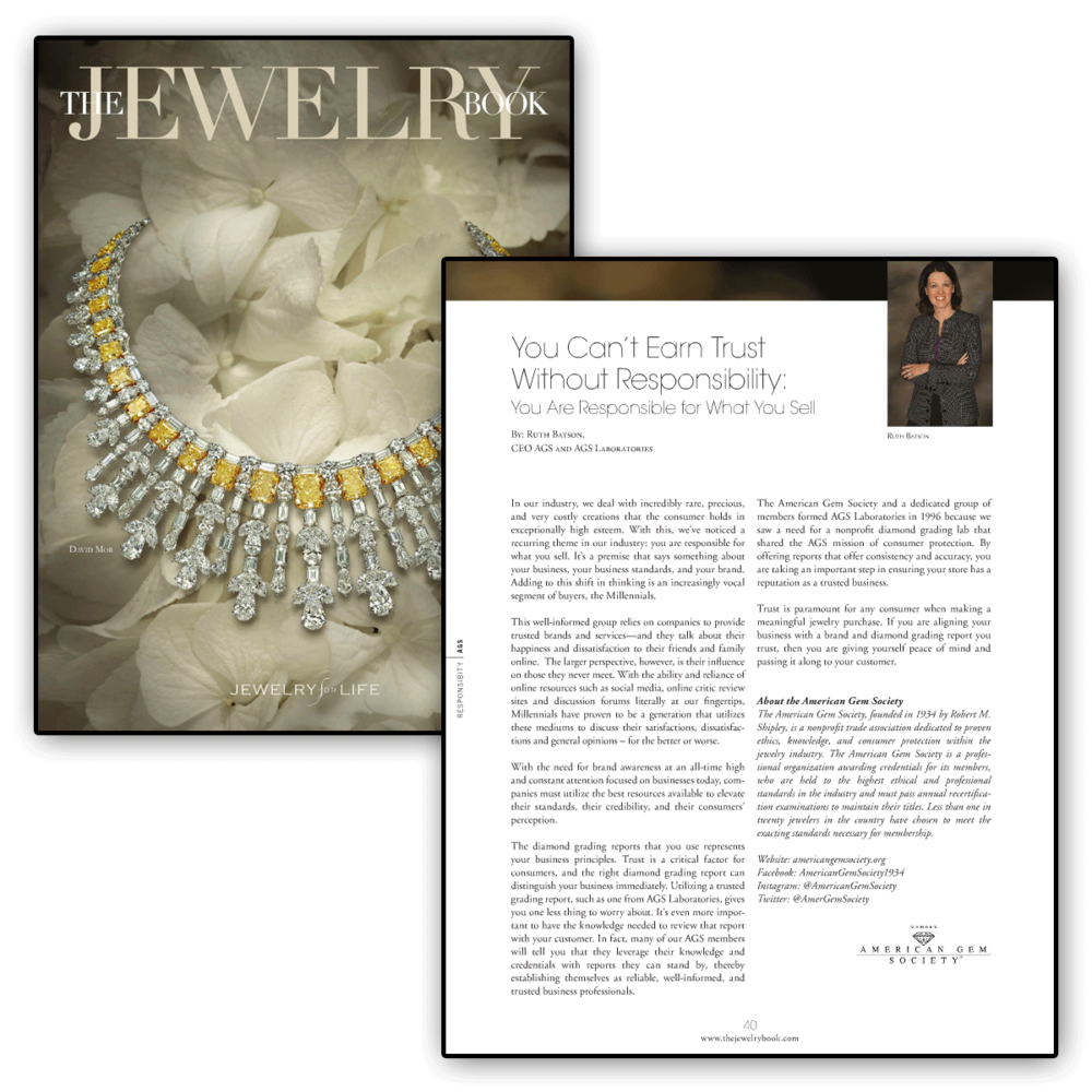 Thank you The Jewelry Book for featuring this article by the American Gem Society'svery own, Ruth Batson.