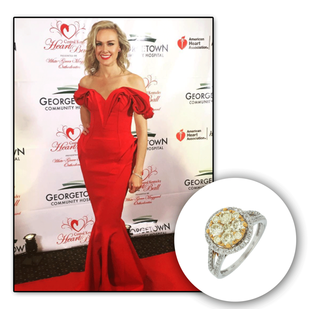 Lovely lady in red! We can't seem to take our eyes off the gorgeous Laura Bell Bundy glistening in white gold and diamonds, brought to you by Royal Jewelry.