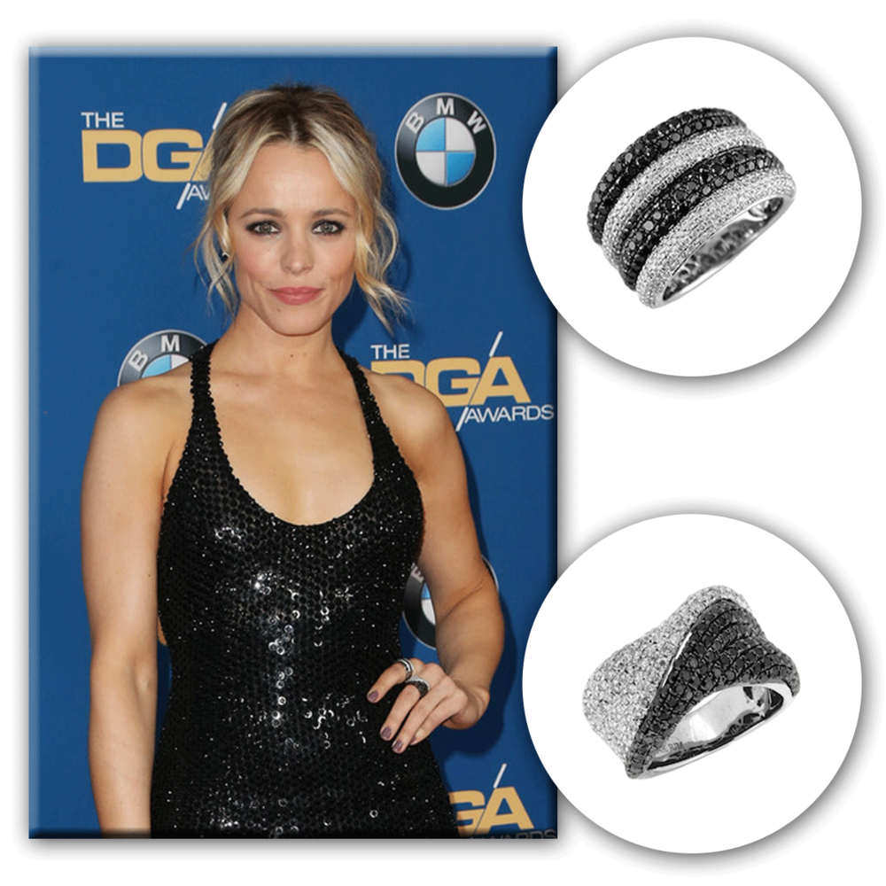 Rachel McAdams looks ever so chic in her sleek black dress, accompanied by some Royal Jewelry fashion rings.