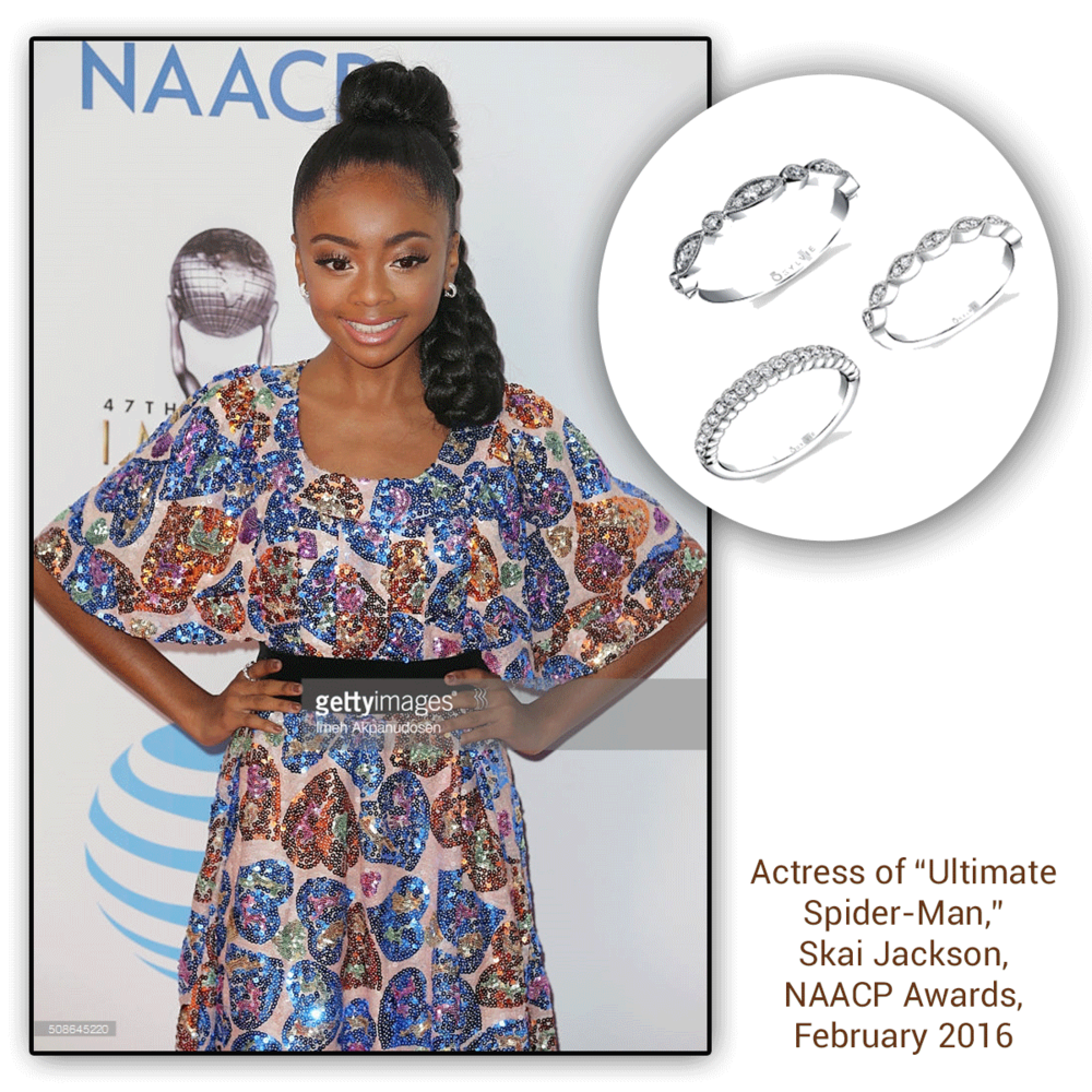 It's safe to say that at the NAACP Awards, it was all about sparkling with Skai. How flawless does she look in this assortment of white gold Sylvie Collection bands, as well as the Supreme Jewelry chain ring (below)?