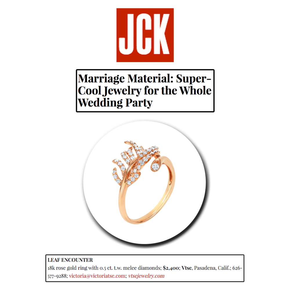 Planning a wedding soon? Well, we're here to help. This rose gold nature-inspired ring is a perfect candidate for an attendant gift, don't you think? Thank you JCK Marketplace for featuring this one-of-a-kind Vtse piece.