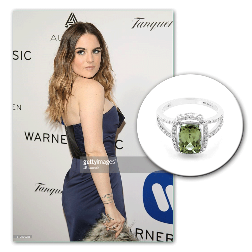 Always a lovely sight to see, Jojo glistens on the red carpet in this white gold and diamond Lance Fischer ring.