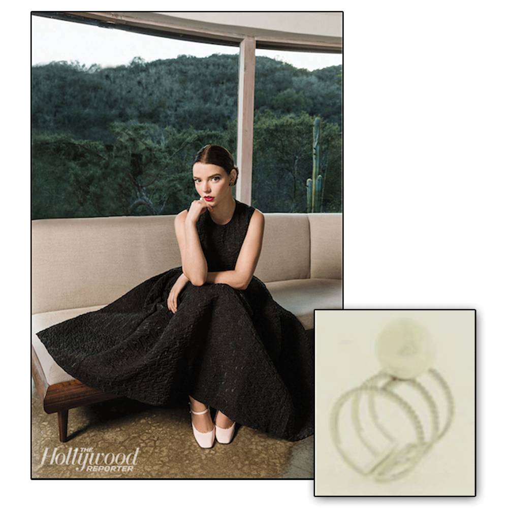The up-and-coming Anna Taylor-Joy slays in the latest issue of The Hollywood Reporter in this delicate, yet stylish Daniel Espinosa ring.