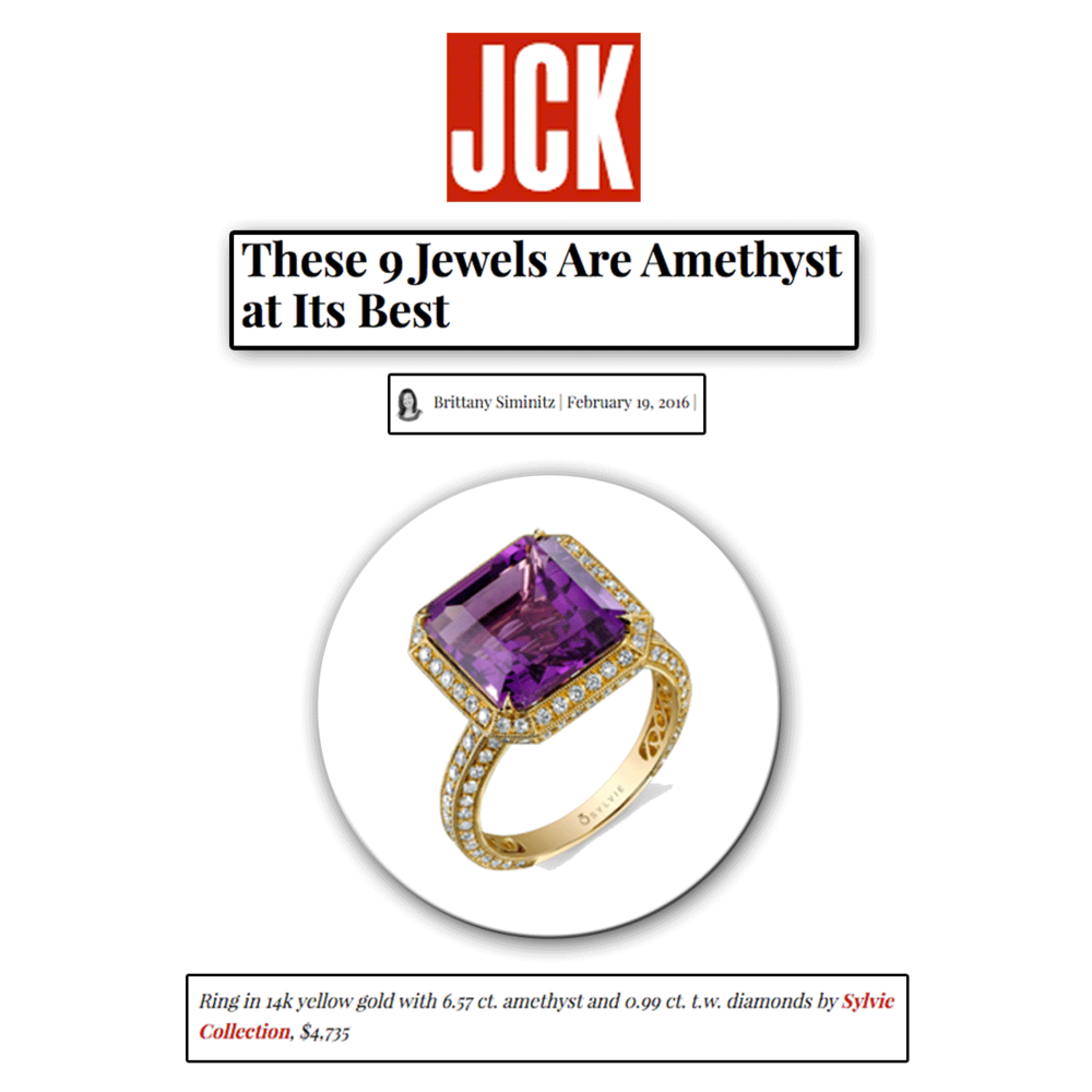 This yellow gold and amethyst ring (Sylvie Collection) makes for a great treat to get you through the week.