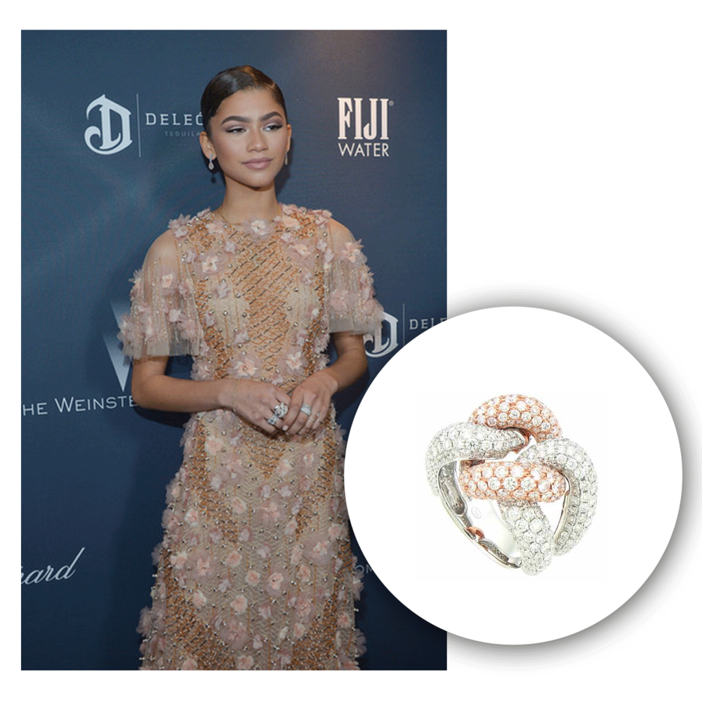 Zendaya sparkled so beautifully in this two-tone Supreme Jewelry cocktail ring at the Weinstein Company's Pre-Oscar Dinner!