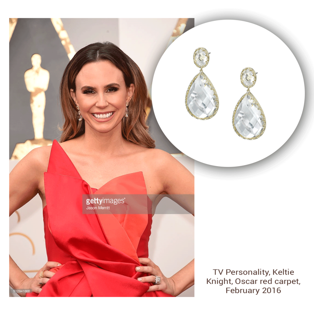 TV personality, Keltie Knight glistens in her salmon pink dress, accompanied by these stunning crystal Sylvie Collection drops.
