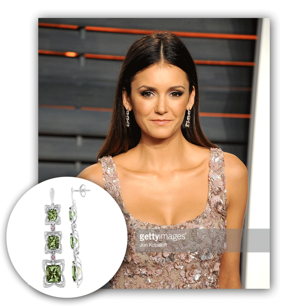 Stunning as usual, Nina Dobrev graces the Vanity Fair Oscar Party in these dazzling drops featuring the ever so striking Zultanite center stone!