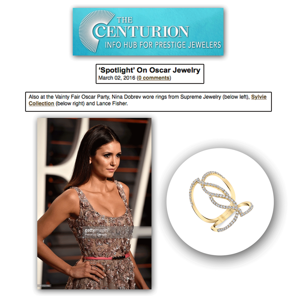 Yet again, another beauty at the Vanity Fair Oscar Party - Nina Dobrev looked strikingly beautiful in this criss-cross Sylvie Collection fashion ring.