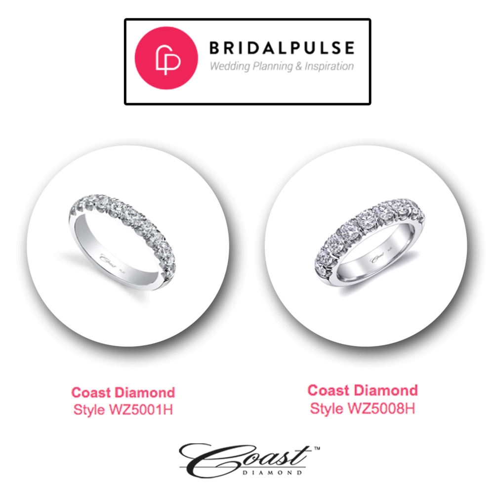 Thank you BRIDALPULSE for featuring these two white gold and diamond Coast Diamond wedding bands.
