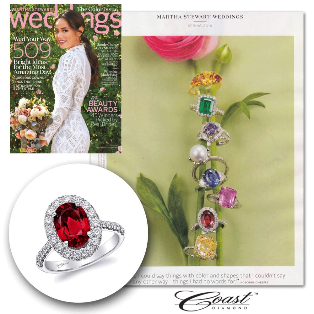 This season, we're feeling quite colorful! Thank you Martha Stewart Weddings for featuring this oval-shaped white gold and diamond Coast Diamond engagement ring.