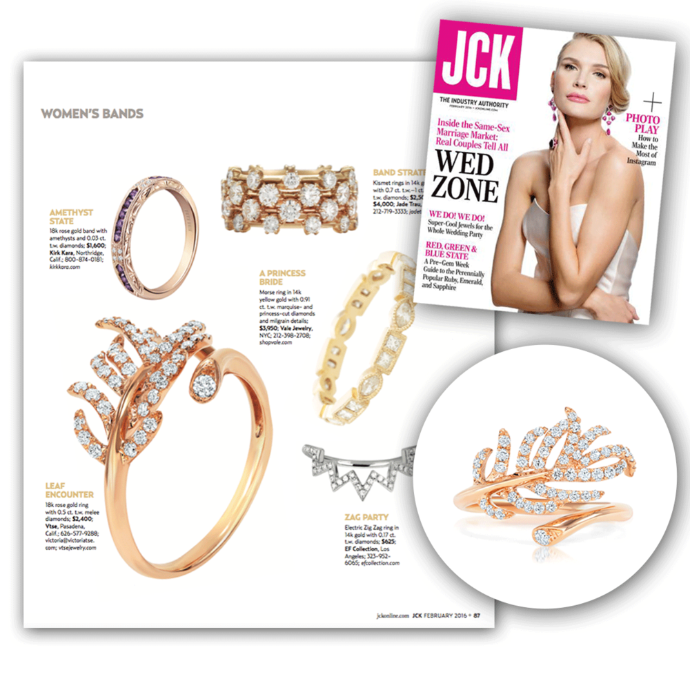 We're getting in touch with our nature side of things, can't you tell? Thank you JCK Magazine for featuring this leaf-shaped rose gold and diamond Vtse ring.