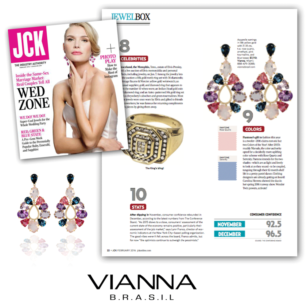 Thank you JCK Magazine for featuring these gorgeous Aquarelle drops by VIANNA BRASIL.