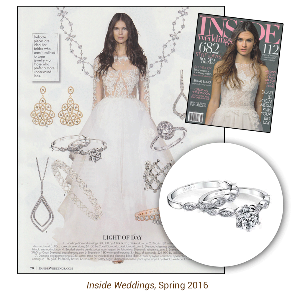 Thank you Inside Weddings for sparkling with Sylvie Collection's one-of-a-kind engagement ring and matching band to match!