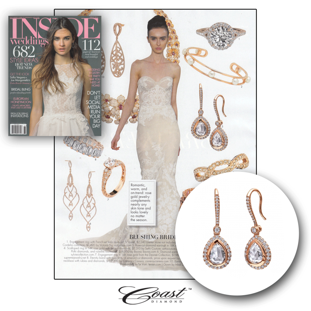 Blushing on her big day, is she? Thank you Inside Weddings for featuring these lovely rose gold and diamond Coast Diamond drop earrings.