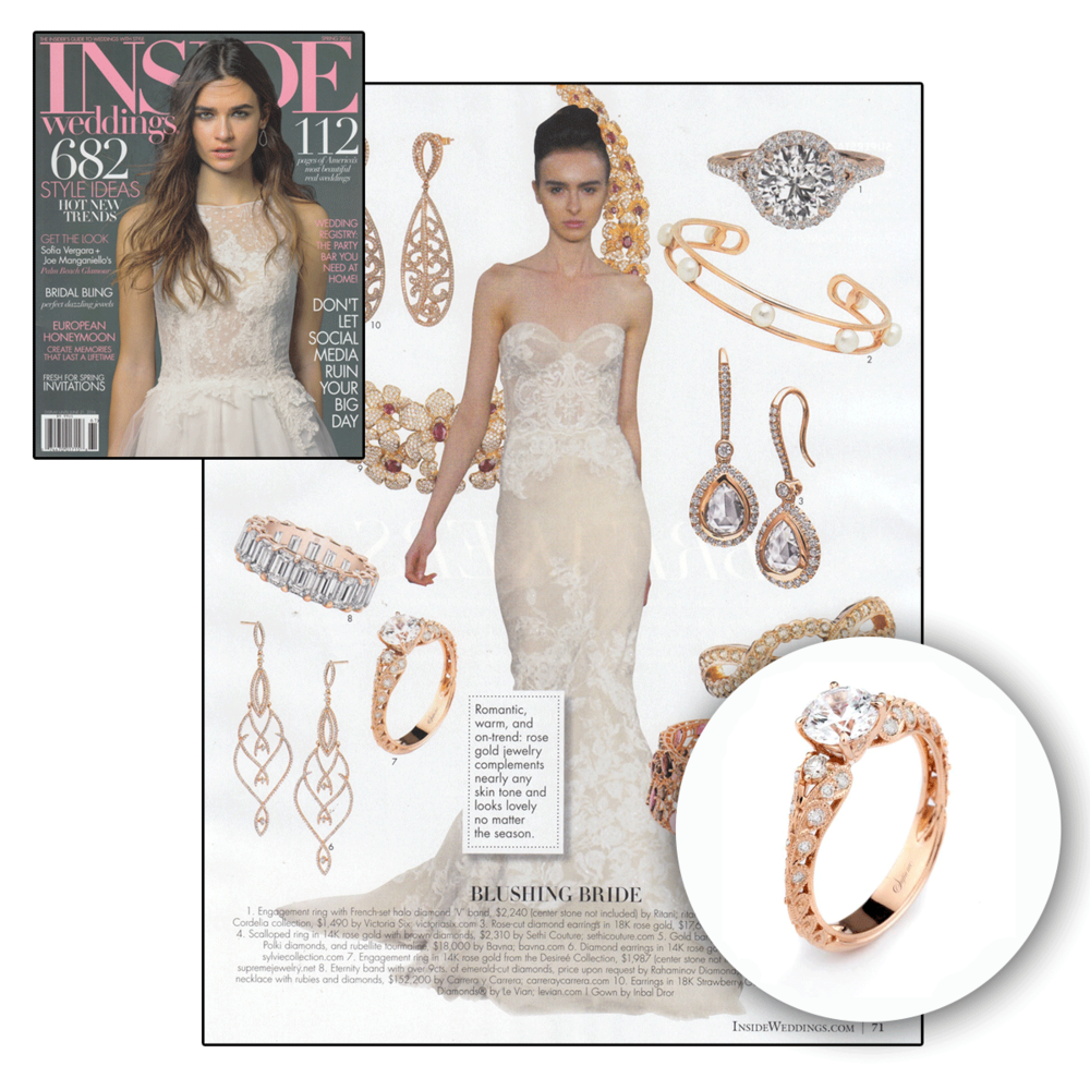 Thank you Inside Weddings for featuring Supreme Jewelry's one-of-a-kind engagement ring for a rather blushing bride!