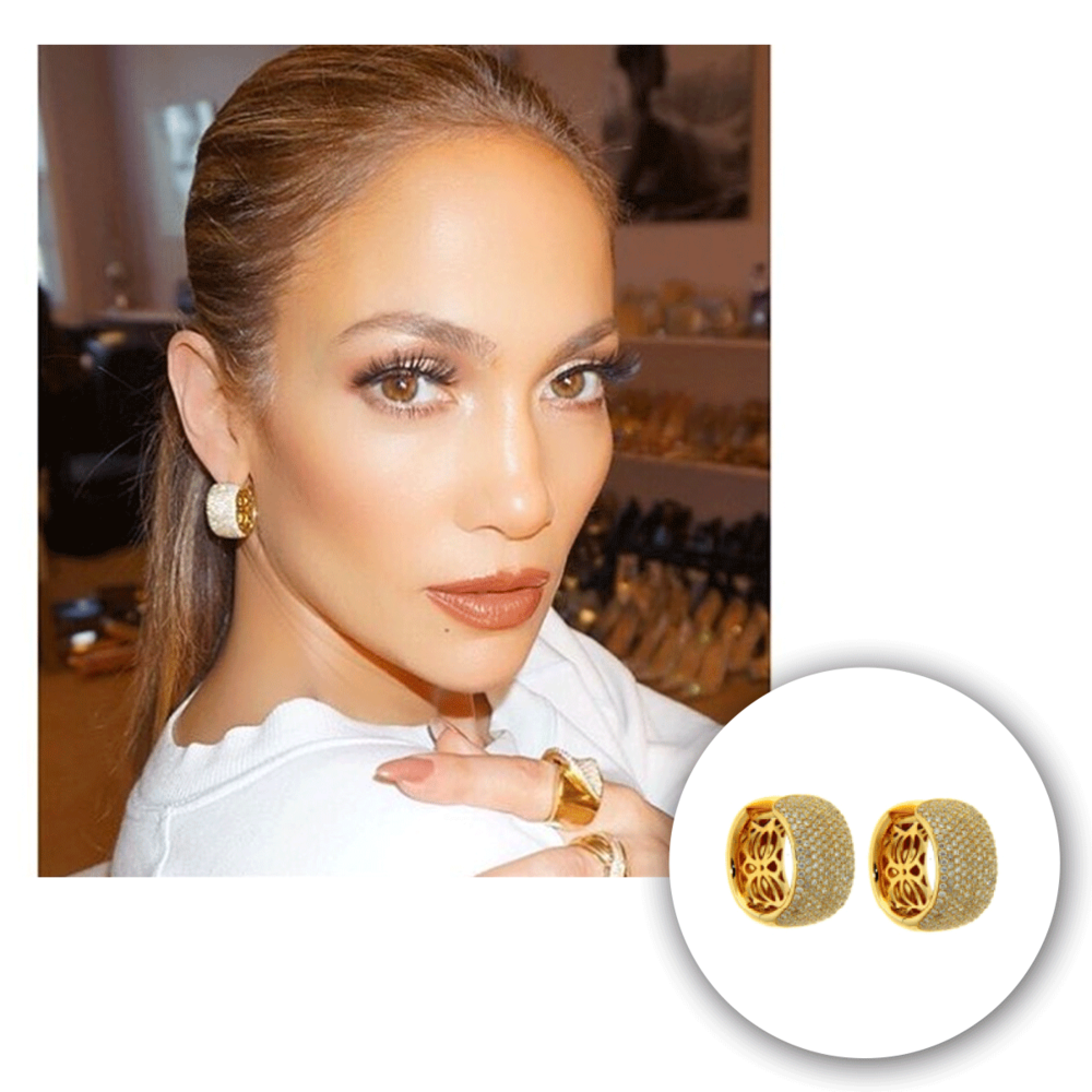 The one, the only J-Lo slays in these yellow gold and diamond Michael John Jewelry hoops!