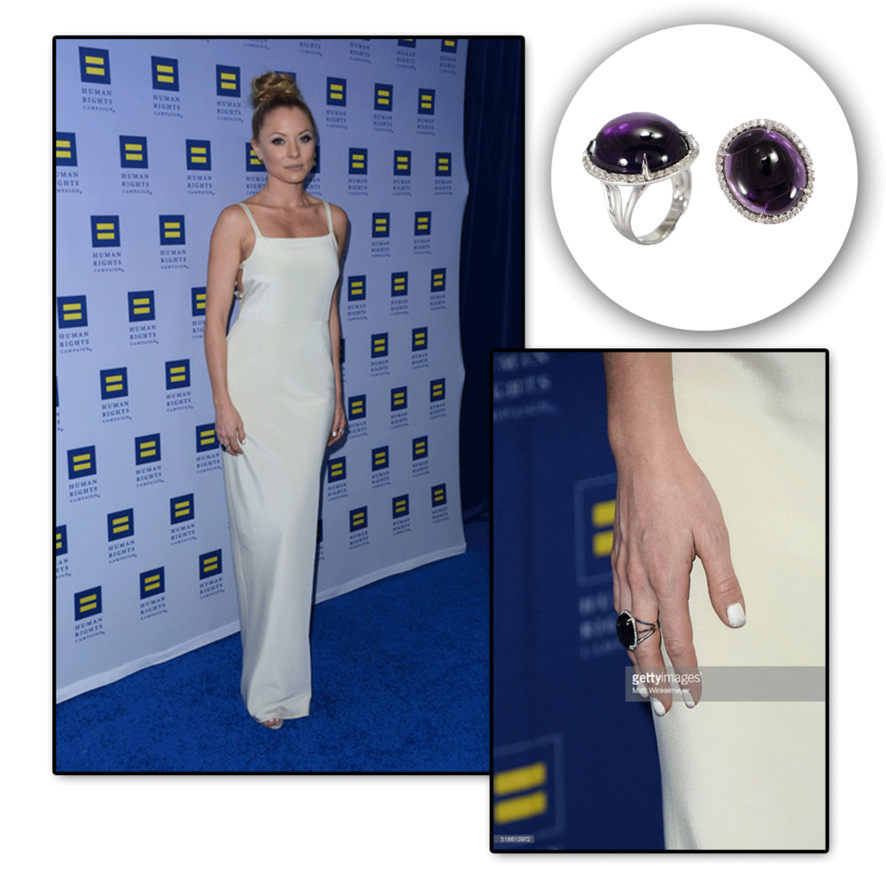 This amethyst and diamond cocktail ring by VIANNA BRASIL is the perfect pop of color to Kaitlin Doubleday's elegant long white dress!