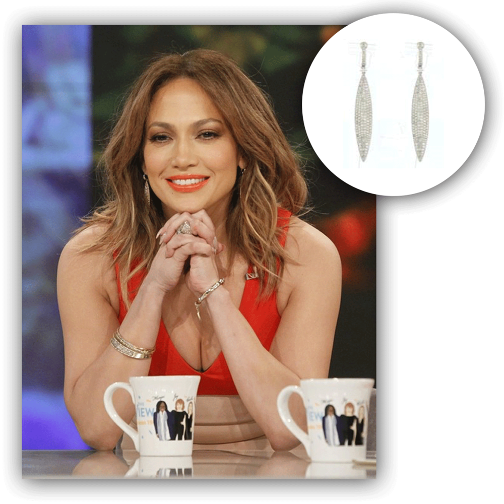 Check out the bombshell of a beauty, J-Lo, as she looks oh so stunning in these white gold and diamond Royal Jewelry drops!