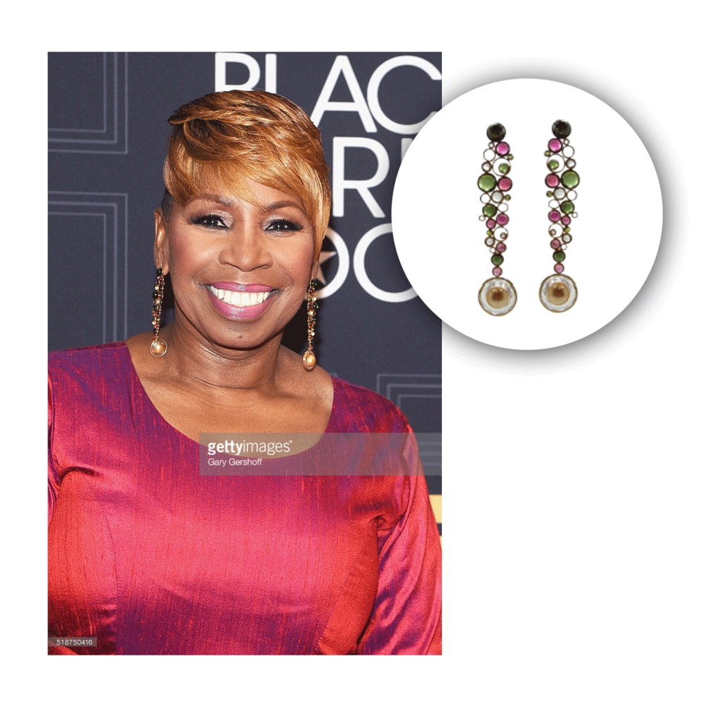 Iyanla Vanzant glows so effervescently in these colorful elongated VIANNA BRASIL drops!