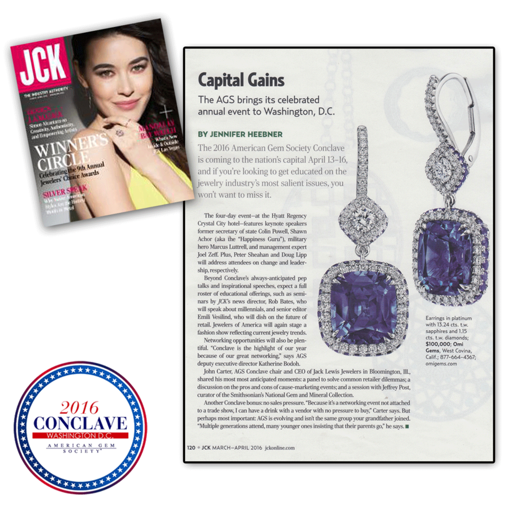 Thank you JCK Magazine for featuring American Gem Society's 2016 AGS Conclave in Washington, D.C. this year.