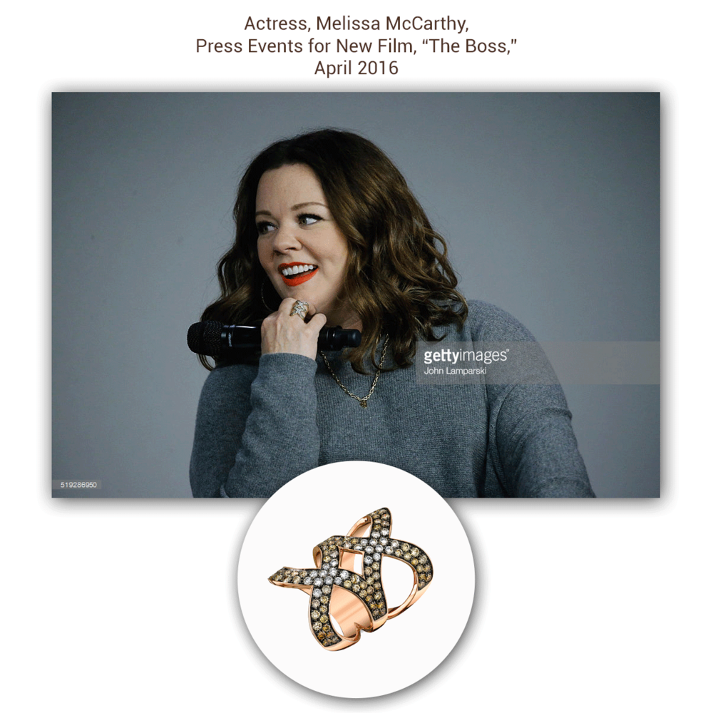 All smiles, Melissa McCarthy looks stunning in this one-of-a-kind rose gold and multi-colored diamond Sylvie Collection ring!