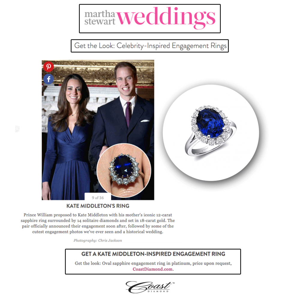 Looking for a ring that is similar to Kate Middleton's? Well, Coast Diamond's here to help!