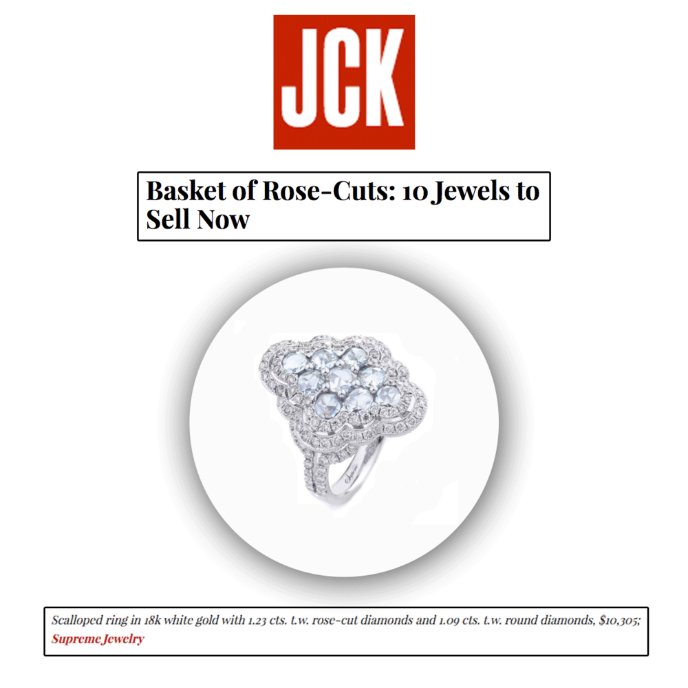 Rose-cut diamonds are all the hype again, can't you tell? Thank you JCK Magazine for featuring this one-of-a-kind scalloped ring by Supreme Jewelry.