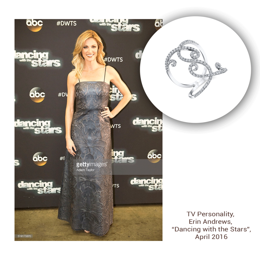 """The beautiful blonde, Erin Andrews sparkles so beautifully on a recent episode of """"Dancing With the Stars"""" in this one-of-a-kind Sylvie Collection fashion ring!"""