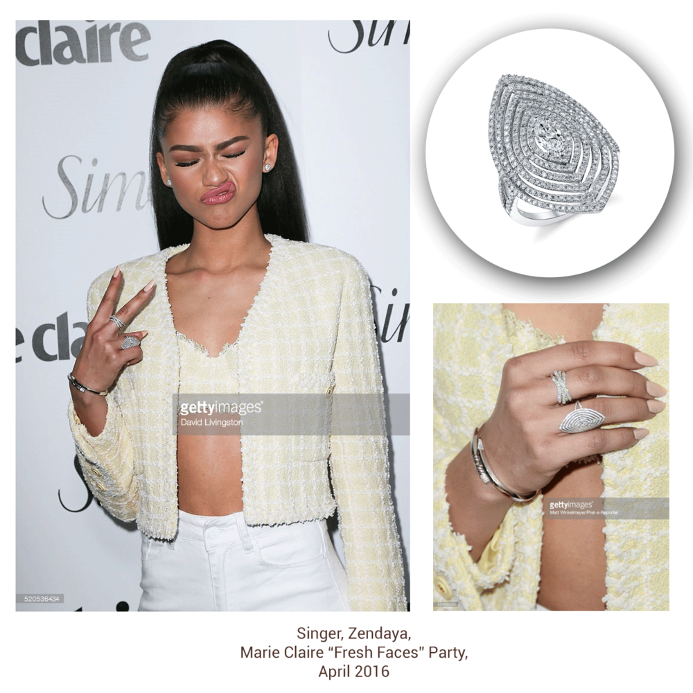 Zendaya looks funky fresh in this teardrop-shaped diamond stunner by Sylvie Collection!