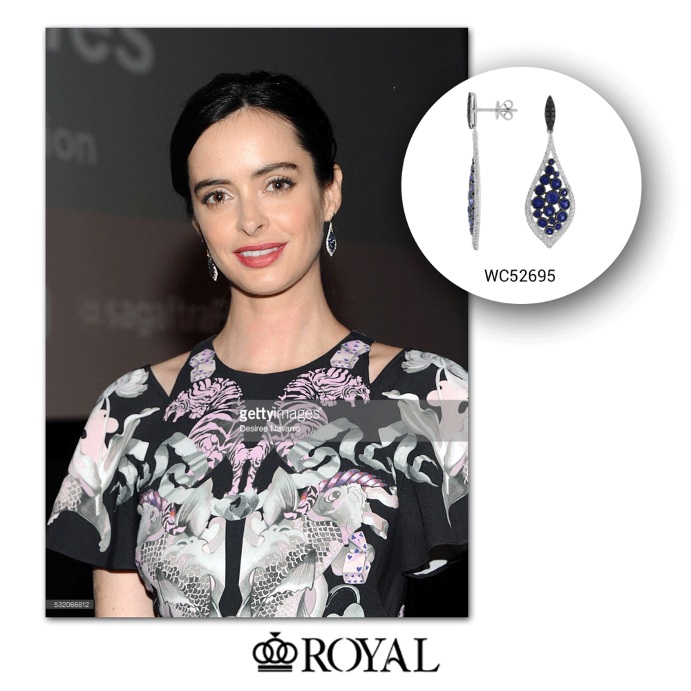 Krysten Ritter decks herself pretty in these sparkling white gold and blue sapphire Royal Jewelry drops - a perfect compliment to her fashionable printed dress!