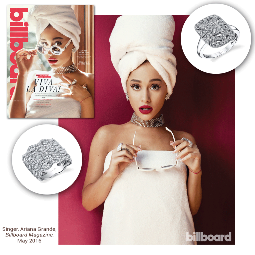 Sweet little Ariana Grande looks picture perfect in recent edition of Billboard Magazine, as she adorns this white gold and diamond Sylvie Collection stunner!