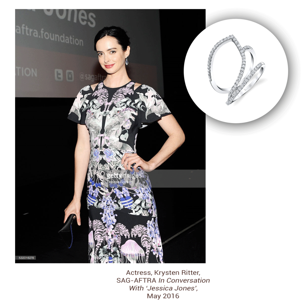 Krysten Ritter, yet again, also adorning this one-of-a-kind asymmetrical Sylvie Collection fashion ring!
