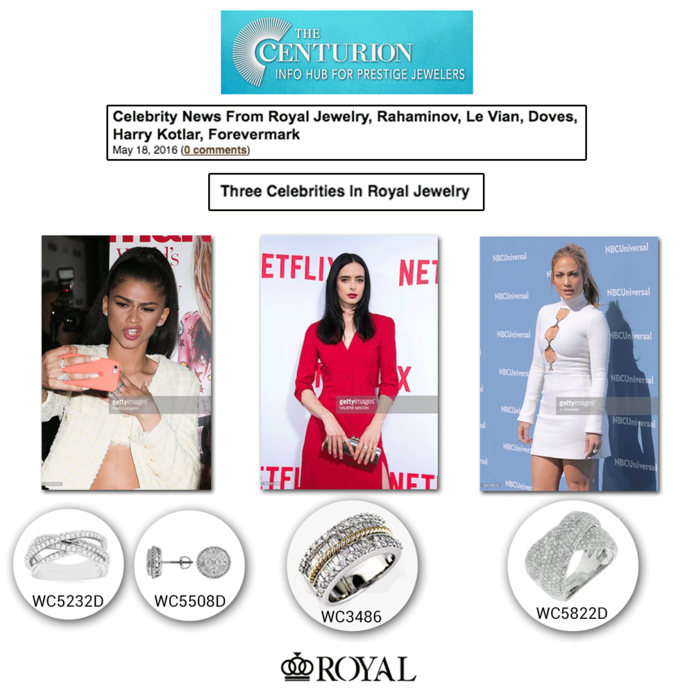 Look at Royal Jewelry killing the game with Zendaya, J-Lo and Krysten Ritter adorning a selection of their sparkling pieces!